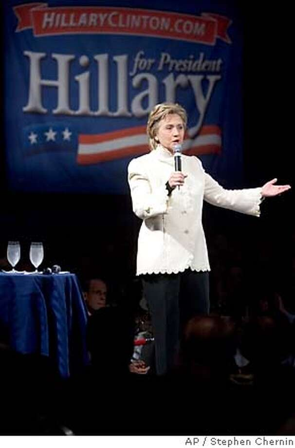Presidential hopeful Sen. Hillary Rodham Clinton, D-N.Y. speaks at a fundraiser Sunday, March 18, 2007 in New York. Senator Clinton's current competition for the Democratic nomination is Illinois Sen. Barack Obama and former South Carolina Sen. John Edwards. (AP Photo/Stephen Chernin) Photo: Stephen Chernin