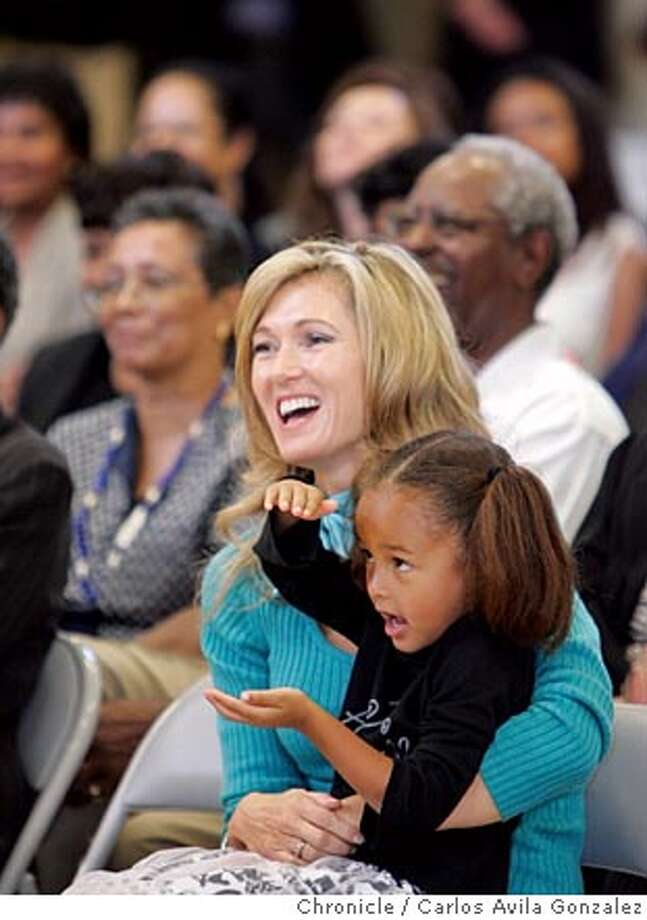 Carolyn Carpeneti, and Willie Brown's daughter Sydney Brown at the rededication ceremony. Twenty-First Century Academy, one of the Dream Schools in Bayview-Hunters Point, is re-christened the Willie L. Brown Jr. College Prepatory Academy. The former mayor is there to be honored and meet the kids who are attending his school. Photo by Carlos Avila Gonzalez / The San Francisco Chronicle  Photo taken on 9/27/05, in San Francisco,CA. Photo: Carlos Avila Gonzalez