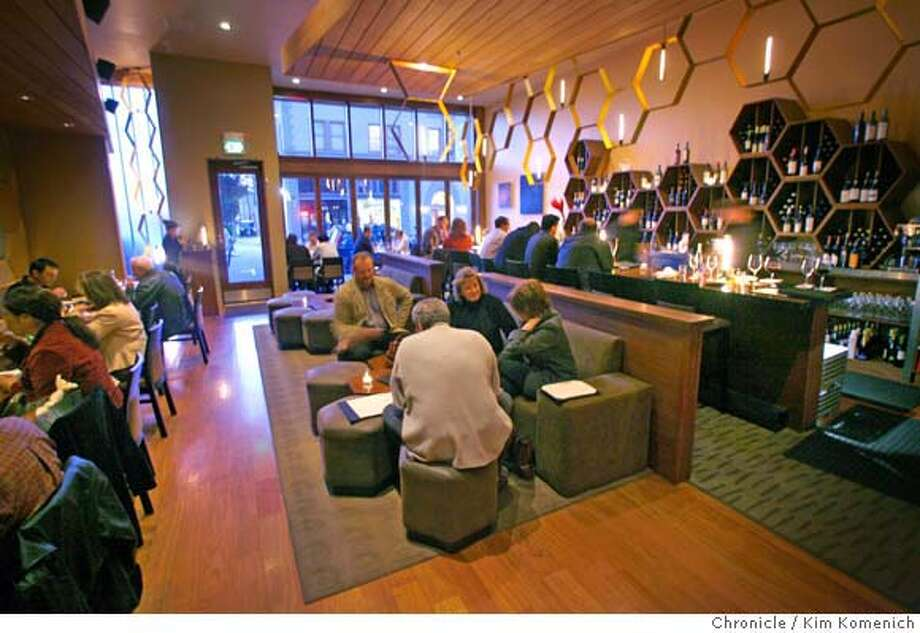 The main lounge and dining room at Nectar, a combination wine bar and restaurant in Burlingame. Chronicle photo by Kim Komenich
