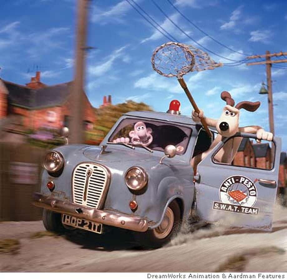 "WALLACE07 Wallace (PETER SALLIS) and his ever-faithful dog Gromit are cashing in with their humane pest-control outfit, ""Anti-Pesto,"" in WALLACE & GROMIT: THE CURSE OF THE WERE-RABBIT, a presentation of DreamWorks Animation and Aardman Features. Photo: DreamWorks Animation"