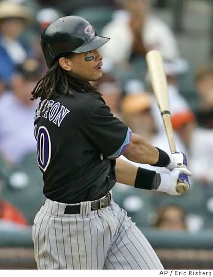 Arizona Diamondbacks' Royce Clayton watches his RBI double against the San Francisco Giants in the 11th inning in San Francisco on Saturday, Oct. 1, 2005. Clayton drove in the winning run and the Diamondbacks won 2-1. (AP Photo/Eric Risberg) Photo: ERIC RISBERG