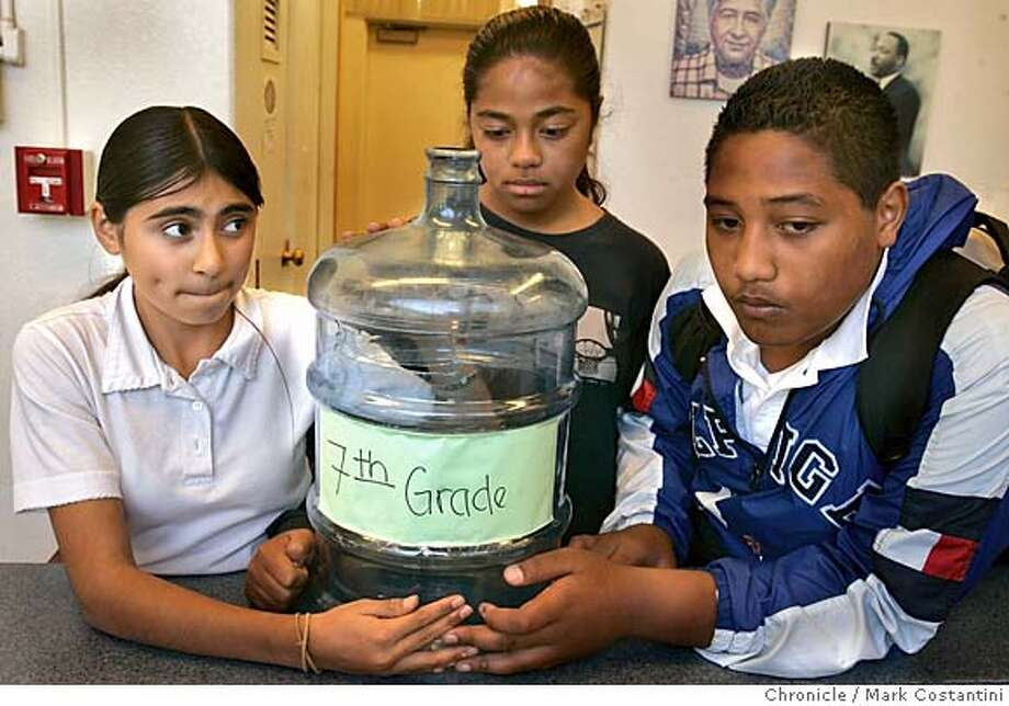 hurricane04_theft152_mc.jpg  Seventh graded students who participated in the the fundraising drive with the emptied coin jar. l-r:  Rosa Santa Cruz, Fane Kupetino and Stephen Fifita.  HURRICANE04_THEFT -- Walsh. (Collier.) (Photo.) Students at Cesar Chavez Academy in East Palo Alto who collected $1,500 in spare change to help victims of the hurricanes will have to start another fund-raiser after someone stole the jar of donated money from the principal's office over the weekend. Photograph by Mark Costantini/S.F. Chronicle. MANDATORY CREDIT FOR PHOTOG AND SF CHRONICLE/ -MAGS OUT Photo: Mark Costantini