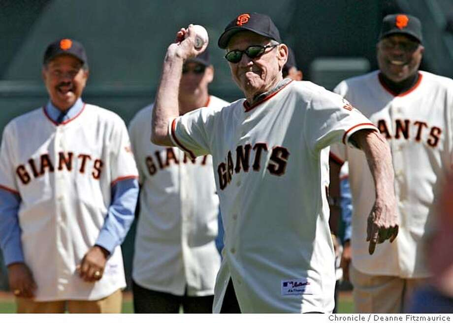 giants04_df.jpg Stu Miller throws out the ceremonial first pitch. 2007 Giants Opening Day at AT&T Park Street in San Francisco on Tuesday, April 03, 2007. photo taken: 04/03/07 Deanne Fitzmaurice / The Chronicle ** (roster cq) MANDATORY CREDIT FOR PHOTOG AND SF CHRONICLE/NO SALES-MAGS OUT Photo: Deanne Fitzmaurice