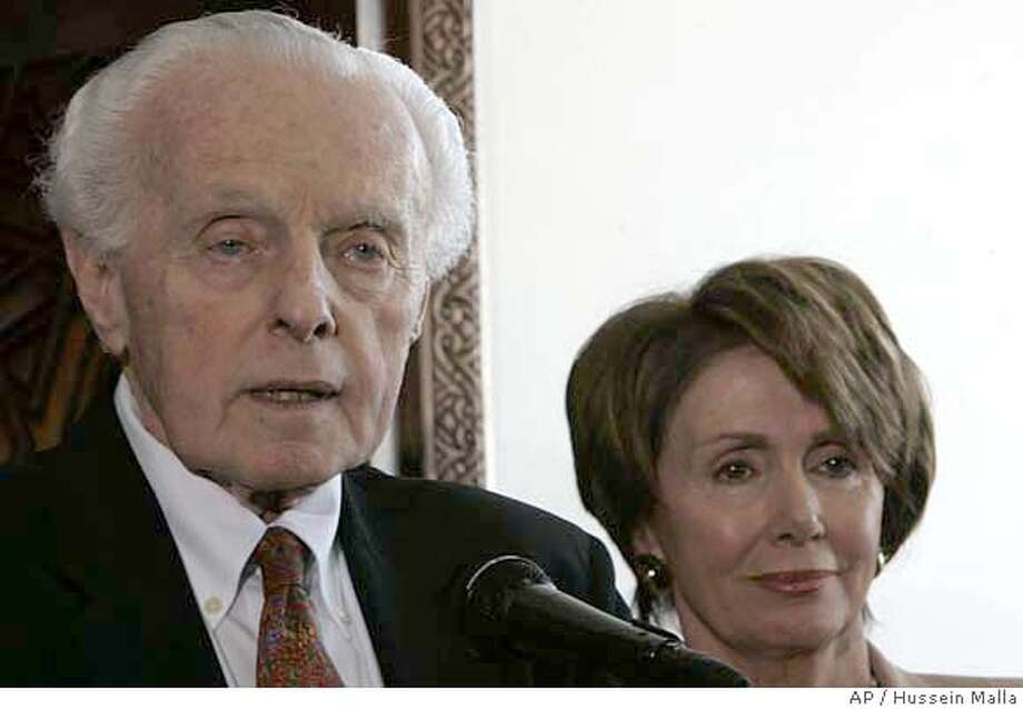 Tom Lantos, the head of the House Foreign Affairs Committee , stands next to U.S House Speaker Nancy Pelosi, during a press conference at Damascus airport, Syria, Wednesday April 4, 2007. Pelosi held talks with Syria's president Wednesday despite White House objections, saying she pressed Bashar Assad over Syrian support for militant groups and passed him a peace message from Israel's prime minister. (AP Photo/Hussein Malla) Photo: HUSSEIN MALLA
