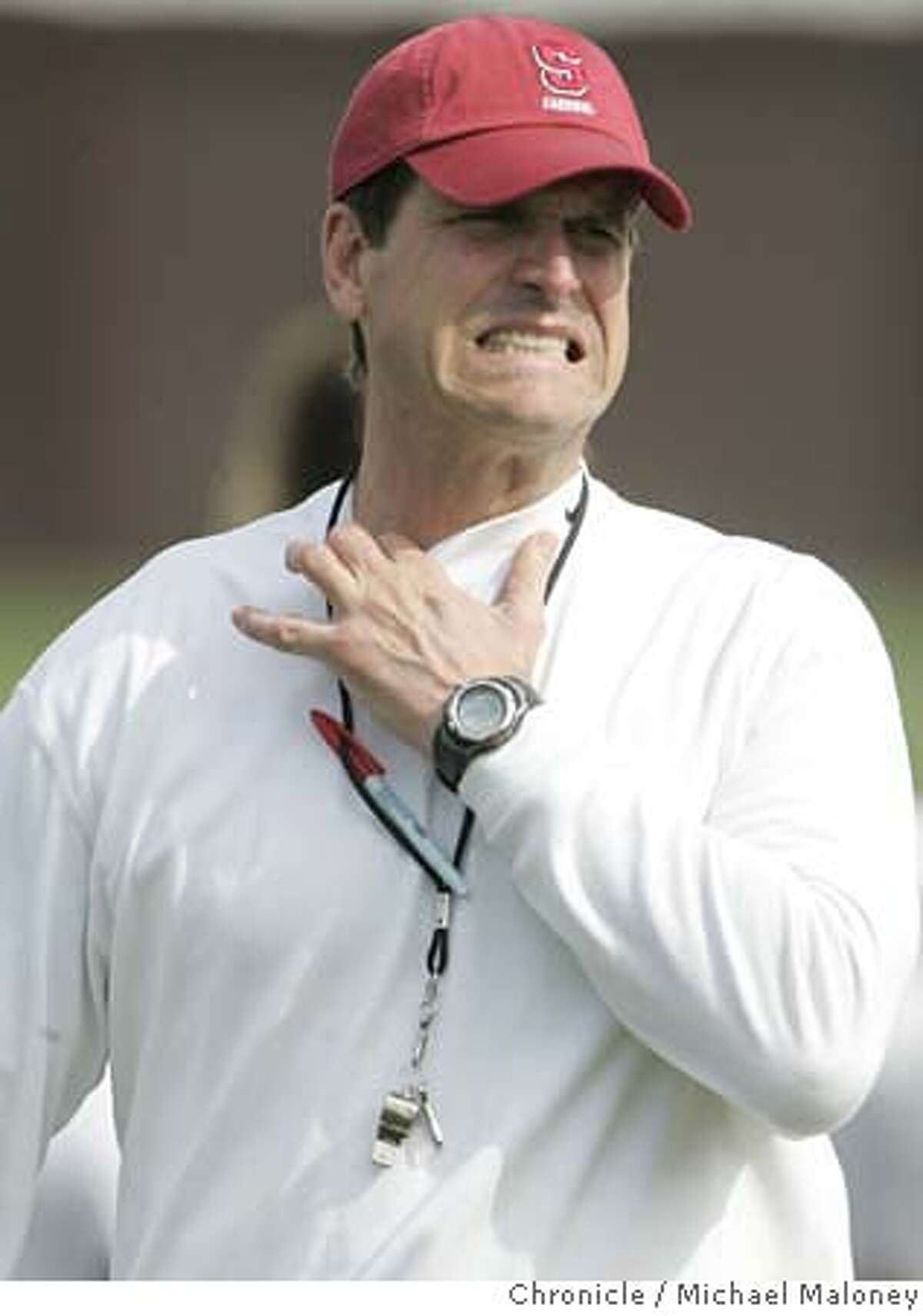 Stanford head coach Jim Harbaugh. Stanford football holds practice under the direction of their new head coach Jim Harbaugh. Photo by Michael Maloney / San Francisco Chronicle ***roster : Jim Harbaugh MANDATORY CREDIT FOR PHOTOG AND SF CHRONICLE/NO SALES-MAGS OUT
