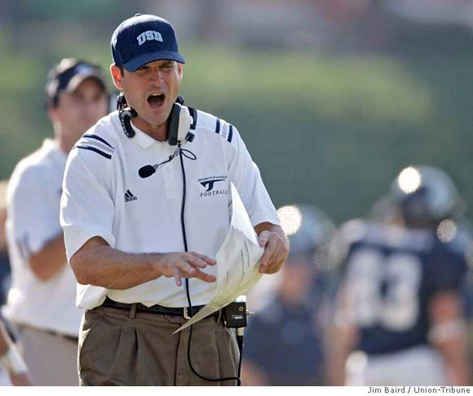 11-12-2005 USD vs. Marist football -- USD coach Jim Harbaugh. Jim Baird / Union-Tribune  Ran on: 12-19-2006  Jim Harbaugh led San Diego to two national championships, and attended high school in Palo Alto on his way to a successful playing career.  Ran on: 12-19-2006 Ran on: 12-19-2006  Jim Harbaugh has led San Diego to 29 wins over the past three seasons. He attended Palo Alto High on his way to a successful playing career. Photo: Jim Baird