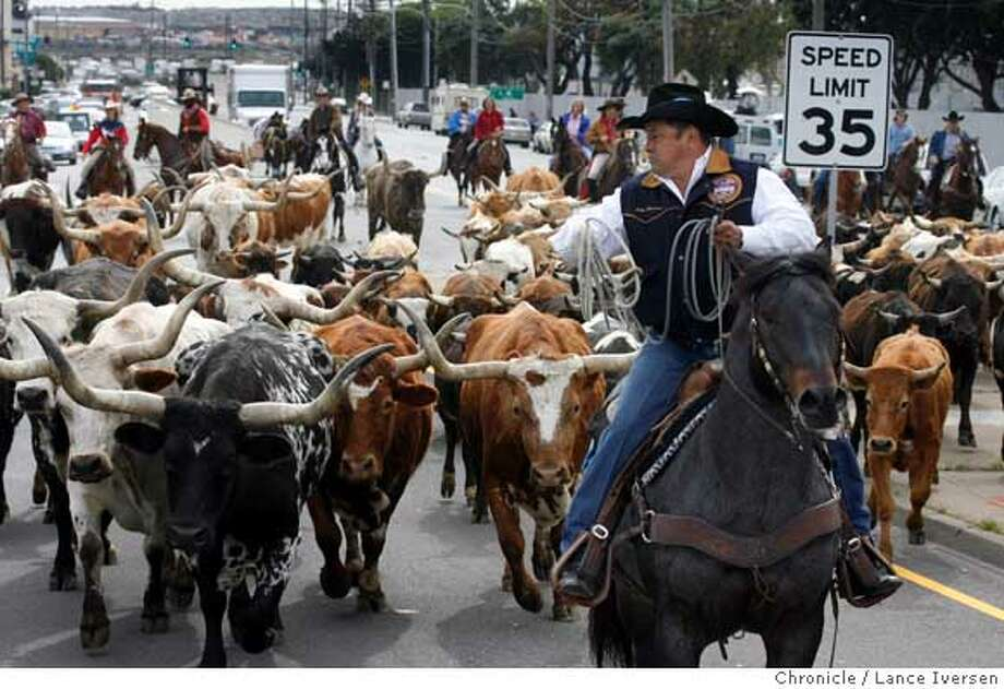 MOO_18734.JPG  Julio Moreno from Susanville Ca leads a cattle drive up Geneva Ave to The Cow Palace as cow boys and cow girls get ready for the 62nd annual Grand National Rodeo, Horse and Stock Show that starts Friday through April 14th. Also taking part in the cattle drive are members of the Cow Girls, Miss Grand National, Flying U and others. (cq, ) Photo By Lance Iversen / The ChroniclePhoto taken on 4/5/07, in SAN FRANCISCO, CA. Photo: By Lance Iversen