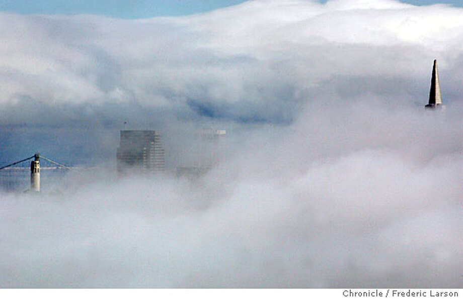 FOG_0130_fl.jpg Summer like San Francisco fog blanketed the city on the first day of October as just the tips of the tallest building appeared from Marin Headlands. 10/2/05 San Francisco CA Frederic Larson The San Francisco Chronicle Photo: Frederic Larson