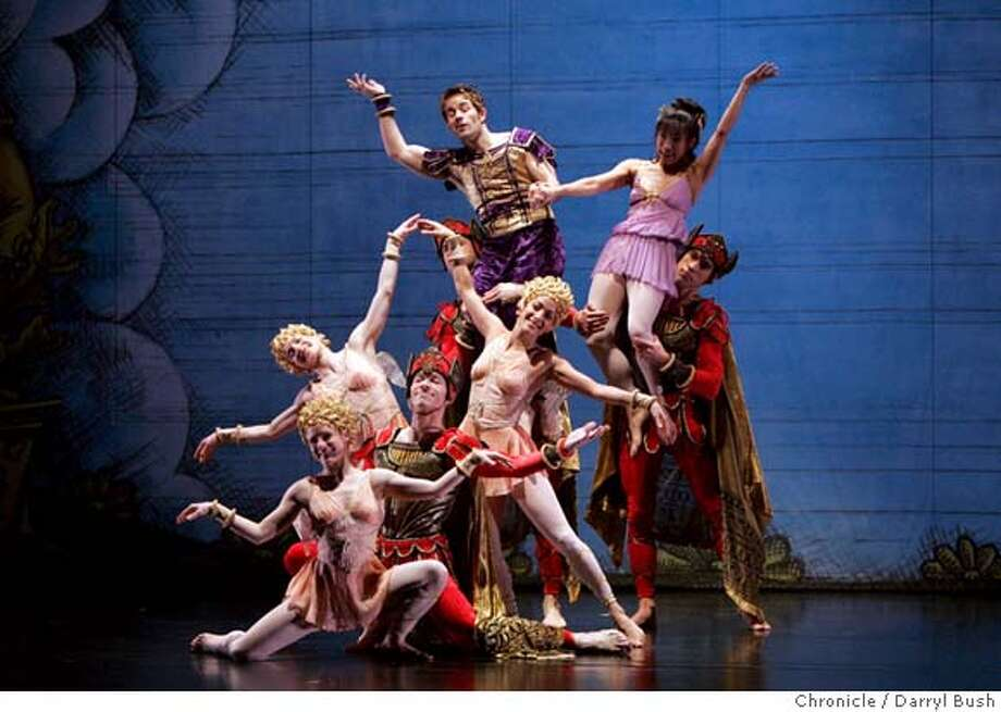 "taylor_0012_db.JPG  Robert Kleinendorst and Lisa Viola are held up in back by the entire cast of ""Trolius and Cressida reduced"" which includes other dancers (no order), Julie Tice, Parisa Khobdeh, Eran Bugge, James Samson, Sean Mahoney, Jeffrey Smith, in Paul Taylor Dance Company's dress rehearsal of ""Trolius and Cressida (reduced)"" at Yerba Buena Center for the Arts in San Francisco, CA, on Thursday, March, 29, 2007. photo taken: 3/29/07  Darryl Bush / The Chronicle ** Lisa Viola, Robert Kleinendorst, Julie Tice, James Samson, Parisa Khobdeh, Sean Mahoney, Jeffrey Smith, Eran Bugge (cq) MANDATORY CREDIT FOR PHOTOG AND SF CHRONICLE/NO SALES-MAGS OUT Photo: Darryl Bush"