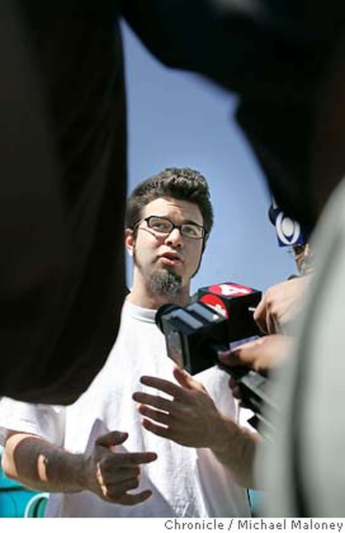 Josh Wolf talks to the media outside the gates to Federal Correctional Institution in Dublin. Josh Wolf, a blogger and freelance journalist who has spent 7 1/2 months in federal prison for defying a grand jury subpoena related to his coverage of an anarchist protest, has turned over video footage to prosecutors and was released today, April 3, 2007 from the Federal Correctional Institution in Dublin. Photo by Michael Maloney / San Francisco Chronicle ***Josh Wolf