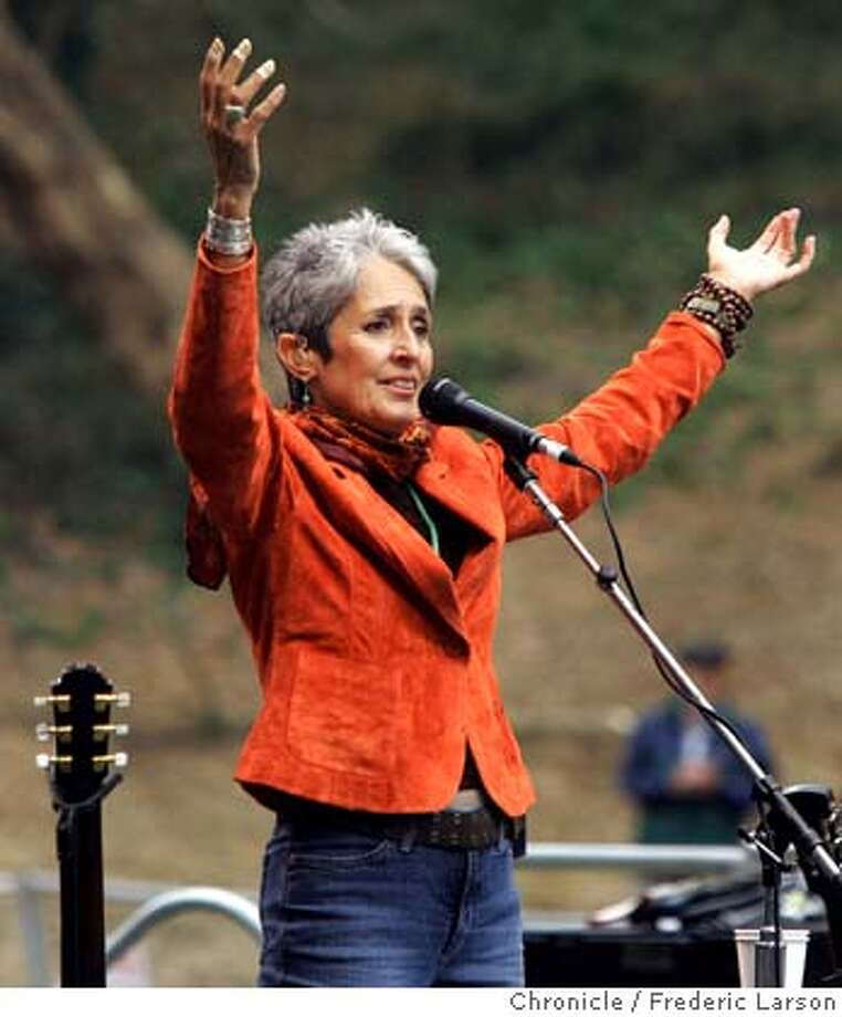 HARDLY_0419_fl.jpg Joan Baez entertains at the Hardly Strictly Bluegrass is the fifth annual free concert in Golden Gate Park by gazillionaire Warren Hellman. Headliners include Doc Watson, Earl Scruggs, Steve Earle, Robert Earl Keen, Rodney Crowell, many others. 10/2/05 San Francisco CA Frederic Larson The San Francisco Chronicle Photo: Frederic Larson