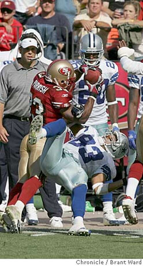 49ers704_ward.jpg  Tony Parrish intercepted a pass meant for Terry Glenn in the 2nd half.  San Francisco 49ers vs Dallas Cowboys at Monster Park. The 49ers lost in the closing minutes 34-31.  Brant Ward 9/25/05 Photo: Brant Ward