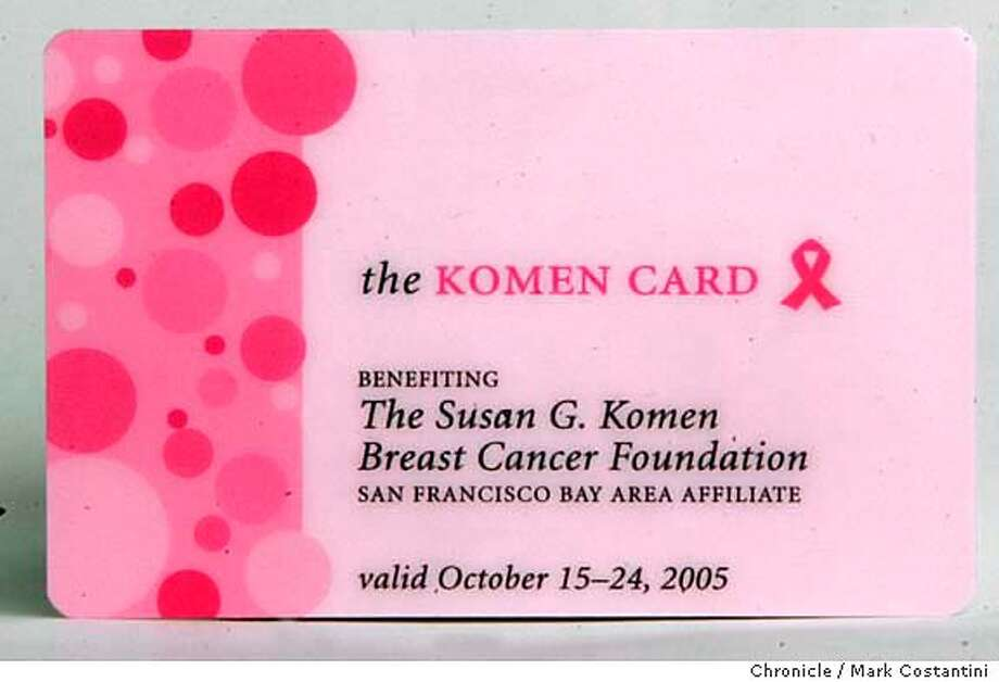 Komen Card.  Studio shots of breast cancer awareness fundraising products for style section product column. Photograph by Mark Costantini/S.F. Chronicle. Photo: Mark Costantini