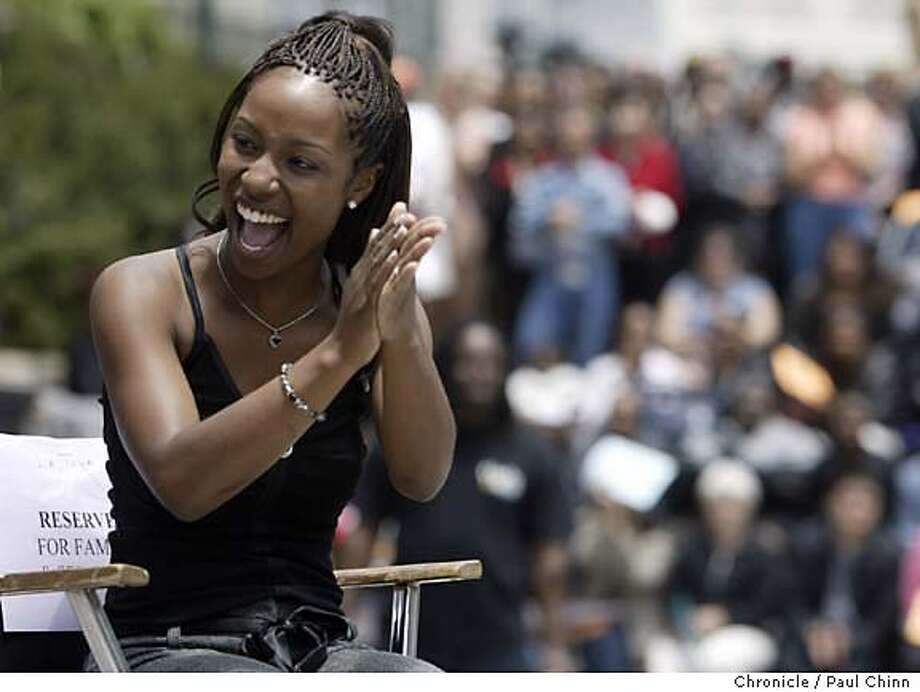 LaToya London listened to numerous words of praise from friends and mentors who spoke to the excited crowd. American Idol singer LaToya London sings for adoring fans at a noontime rally in front of City Hall in Oakland on 6/10/04. PAUL CHINN/The Chronicle Photo: PAUL CHINN