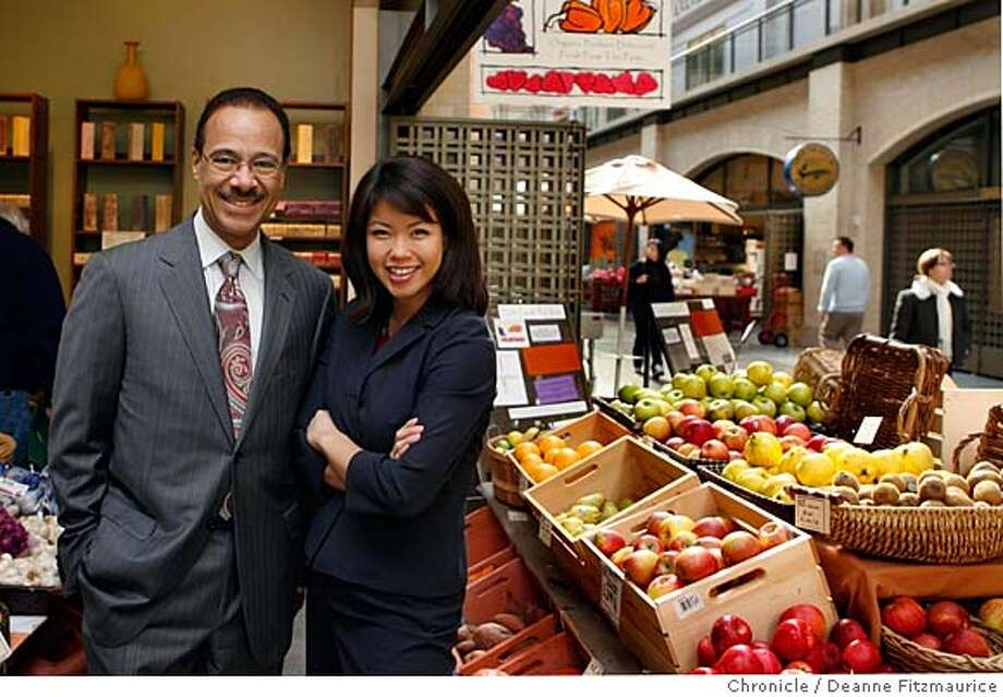 "onthetown_wang_0021_df.jpg  Spencer Christian and Janelle Wang, co-hosts of ""The View from the Bay"" are photographed in Farm Fresh to You, one of Spencer's favorite places in the Ferry Building Marketplace. Photographed in San Francisco on 1/23/07. Chronicle Photo / Deanne Fitzmaurice Mandatory credit for photographer and San Francisco Chronicle. No Sales/Magazines out. Photo: Deanne Fitzmaurice"