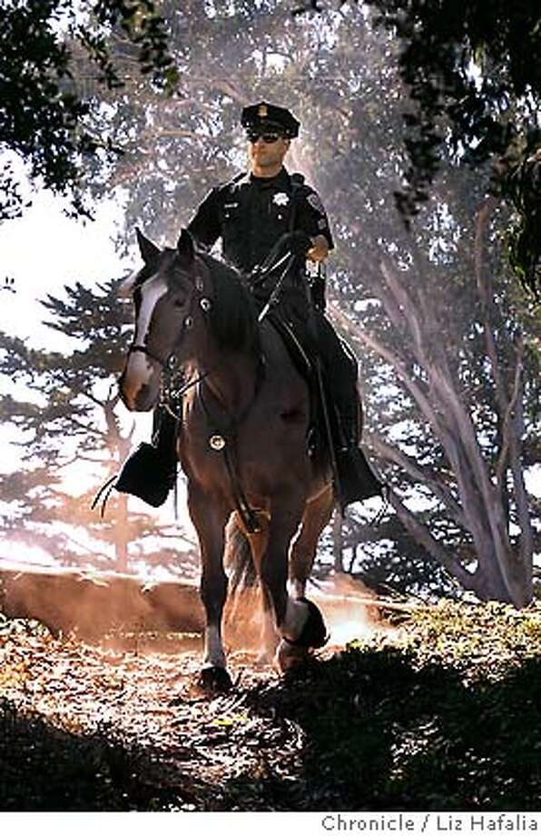 Sargeant Phil Downs with horse, JR, patrolling Golden Gate Park. The San Francisco Police Department's Mounted Patrol Unit is the second oldest and continuous police horse division in the nation, patrolling the streets of San Francisco since 1874. Photographed by Liz Hafalia on 9/19/05 in San Francisco, California. SFC Photo: Liz Hafalia
