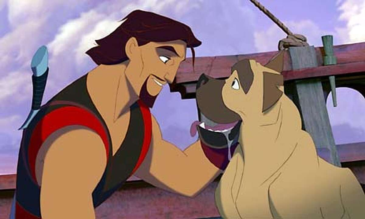 SINBAD02-c For SINBAD02, Datebook movie page ; Sinbad (Brad Pitt) counts on his dog Spike, who is not only man's best friend but a loyal shipmate, in DreamWorks Pictures' animated adventure 'Sinbad: Legend of the Seas