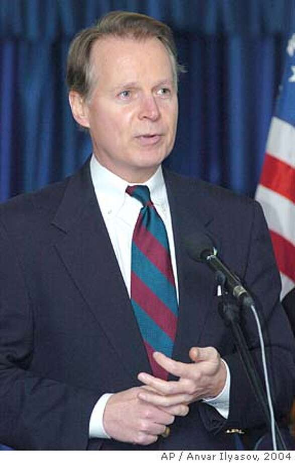 ** FILE ** U.S. Rep. David Dreier of California speaks with reporters after meeting with Uzbek Foreign Minister Sadyk Safayev in Tashkent, Uzbekistan, in this April 5, 2004 file photo. Republican congressional officials said that Speaker Dennis Hastert, R-Ill., would recommend to that Dreier step into the position of majority leader after a Texas grand jury on Wednesday Sept. 28, 2005 charged Rep. Tom DeLay with conspiracy in a campaign finance scheme, forcing the House majority leader to temporarily relinquish his post.(AP Photo/Anvar Ilyasov) APRIL 5, 2004 FILE PHOTO Photo: ANVAR ILYASOV