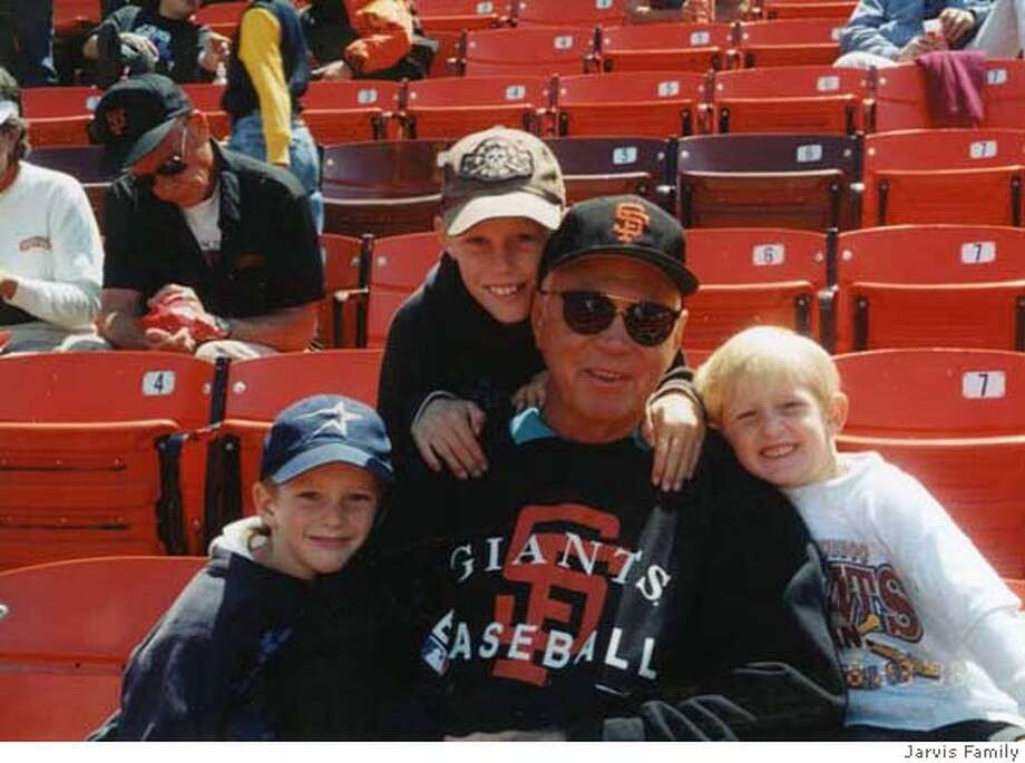 George Jarvis with grandsons Derek, from left, Michael, and Ryan attending a Giants game at Monster Park, then called 3Com Park, in 1996. MANDATORY CREDIT FOR PHOTOGRAPHER AND SAN FRANCISCO CHRONICLE/NO SALES - MAGS OUT Photo: Handout