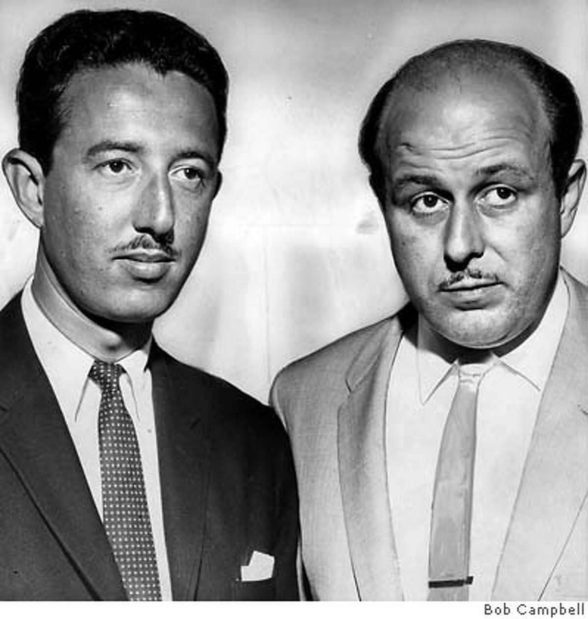 WERBER-30JUN1958-CAMPBELL - Frank Weber and Enrico Banducci. photo by Bob Campbell