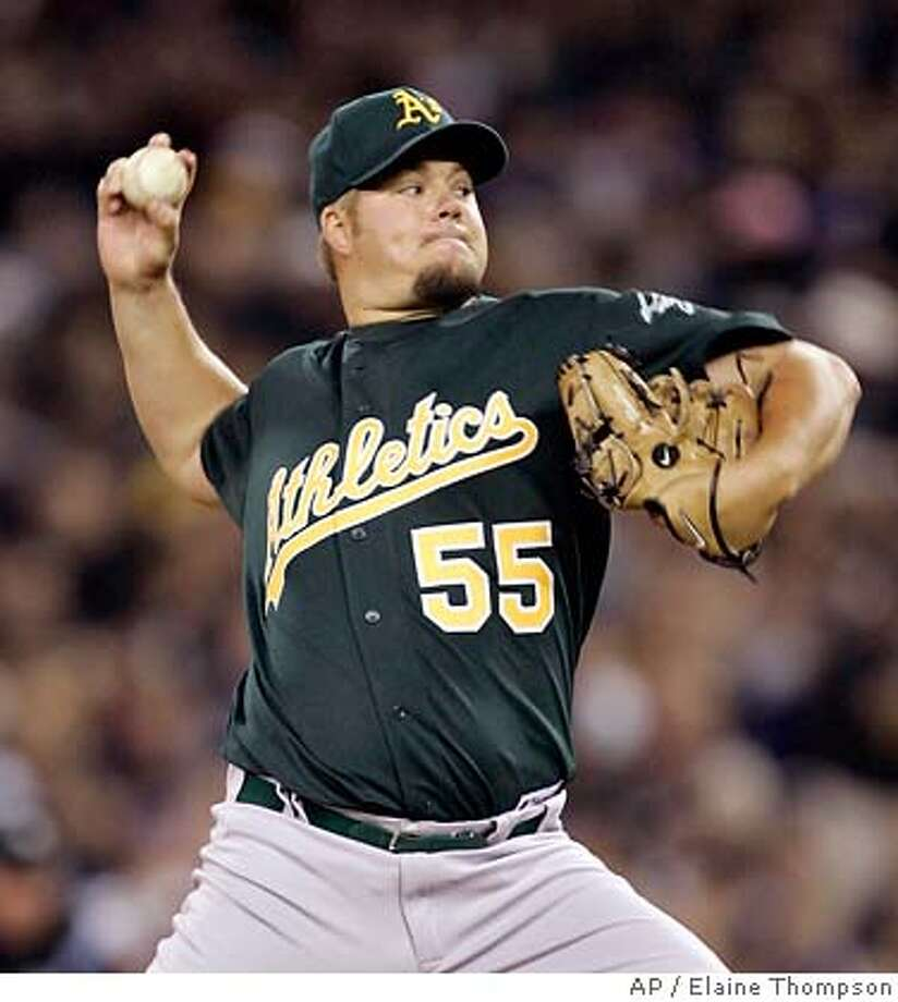 Oakland Athletics starting pitcher Joe Blanton throws against the Seattle Mariners in the first inning at a baseball game, Tuesday, April 3, 2007, in Seattle. (AP Photo/Elaine Thompson) Photo: Elaine Thompson