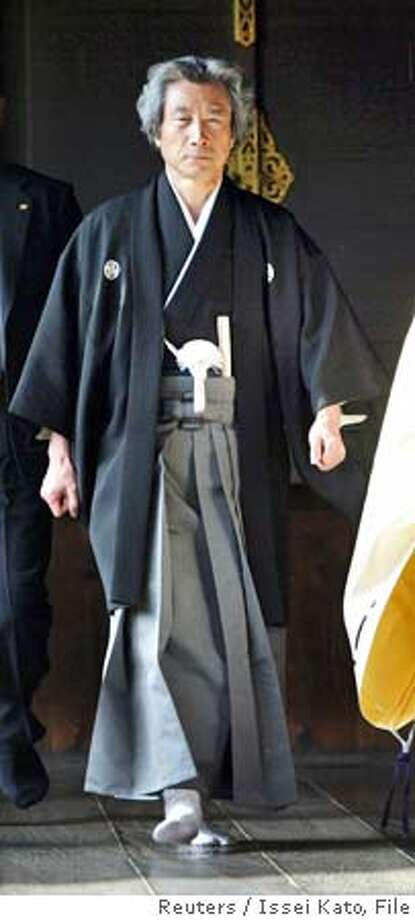 Japanese Prime Minister Junichiro Koizumi (L) is led by a Shinto priest (R) as he visits the controversial Yasukuni Shrine in Tokyo in this January 1, 2004 file photo. More than 300 Japanese lawmakers urged Prime Minister Junichiro Koizumi on August 2, 2005 to visit a shrine for war dead on the 60th anniversary of Japan's defeat in World War Two, saying he should not bow to pressure from China to stay away. REUTERS/Issei Kato/File Ran on: 08-03-2005  Song Shin-do (right), former Korean sex slave for Japanese soldiers, is helped by Yang Ching-ja from the Comfort Women Support Group as she walks toward a news conference in Tokyo. Ran on: 08-03-2005  Song Shin-do (right), former Korean sex slave for Japanese soldiers, is helped by Yang Ching-ja from the Comfort Women's Support Group as she walks toward a news conference in Tokyo. Ran on: 08-03-2005  Song Shin-do (right), former Korean sex slave for Japanese soldiers, is helped by Yang Ching-ja from the Comfort Women's Support Group as she walks toward a news conference in Tokyo. Ran on: 10-01-2005  The visits to the Yasukuni Shrine by Prime Minister Junichiro Koizumi have upset other Asian nations. Photo: ISSEI KATO