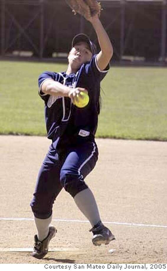Carlmont pitcher Ashley Chinn winds up.  Photo courtesy San Mateo Daily Journal Ran on: 05-06-2005  Carlmont's Ashley Chinn, in top form this season, winds up for a pitch. Chinn and her teammates are poised to capture another CCS title. Photo: Handout