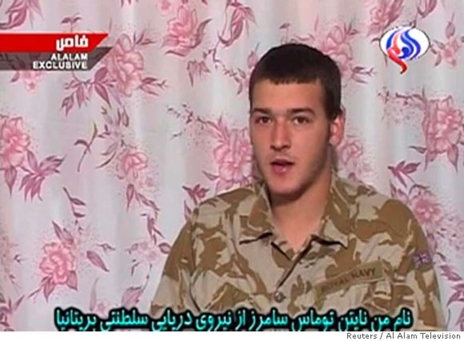 Television grab of Nathan Thomas Summers speaking on Iranian television March 30, 2007. Iranian television broadcast footage of three of 15 captured British sailors and marines on Friday and said one had confessed to entering Iranian waters illegally and had apologised to the Iranian people. REUTERS/Al Alam Television (IRAN) IRAN OUT Photo: REUTERS TV