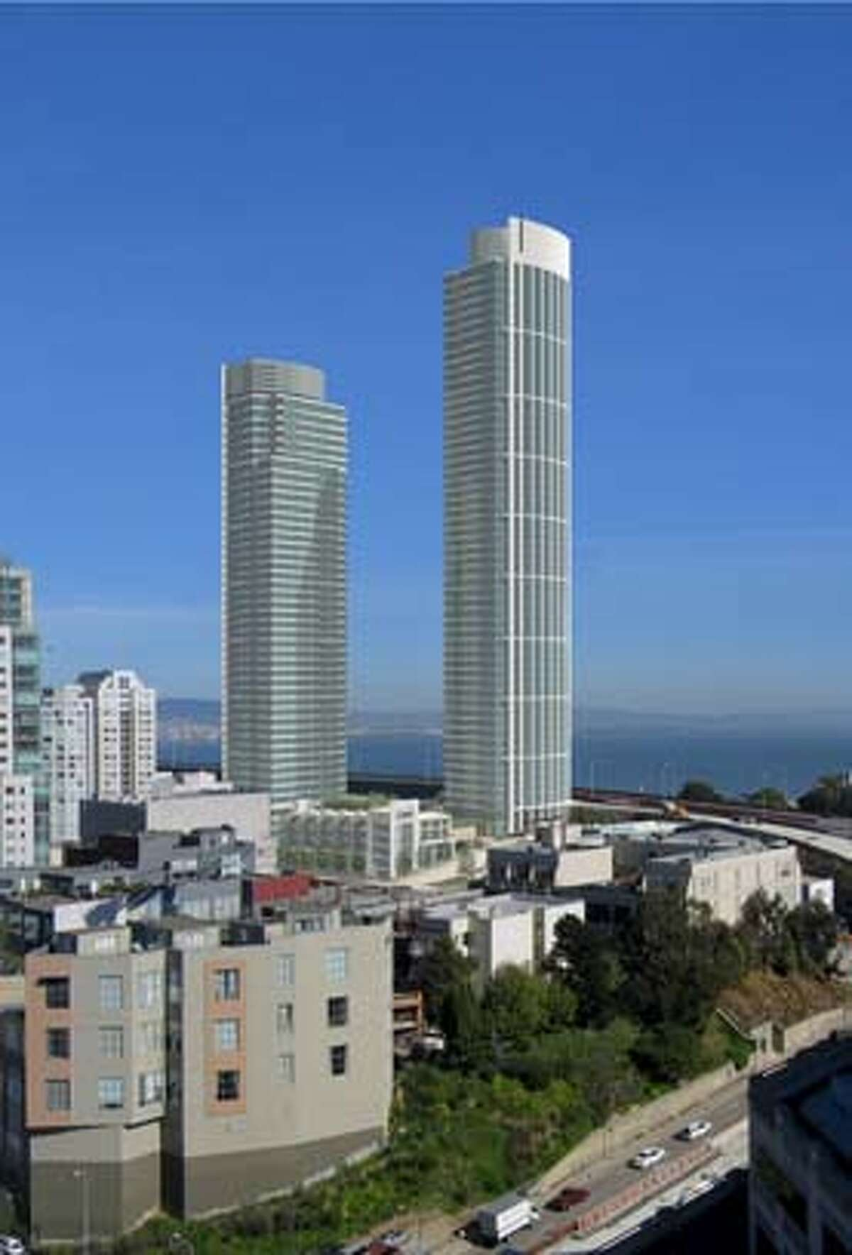 An architect's photo montage shows the Rincon Hill complex as seen from the northwest, placed in the actual cityscape. Courtesy Solomon Cordwell Buenz & Associates