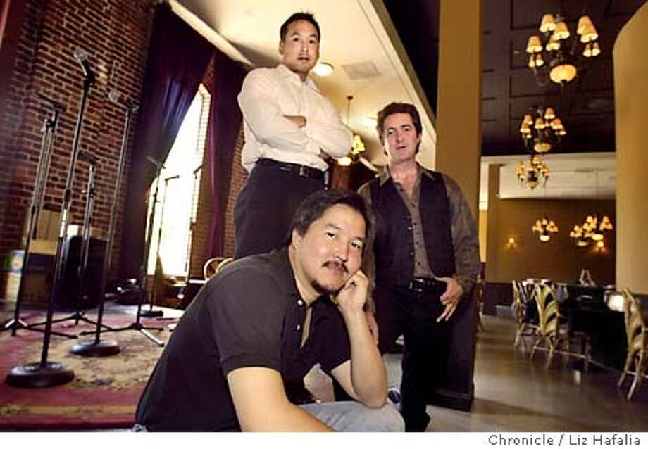 Club Jazz Nouveau will be opeing up at the Cannery. In front is Joseph M. Lee, president and CEO, Keith Dion (right), general manager, and Stephen Louie, director of marketing (white shirt). Shot on 6/24/03 in San Francisco. LIZ HAFALIA / The Chronicle Photo: LIZ HAFALIA