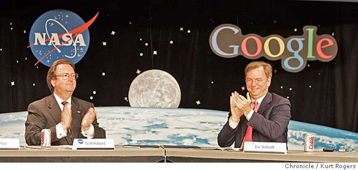 Scott Hubbard of NASA and Dr.Eric Schmidt of GOOGLE . Google announces a deal to lease 1 million sq feet in the NASA Ames research Center at Moffettt Field GOOGLE29_0073_kr.JPG 9/28/05 in Mountan View,CA. KURT ROGERS/THE CHRONICLE MANDATORY CREDIT FOR PHOTOG AND SF CHRONICLE/ -MAGS OUT