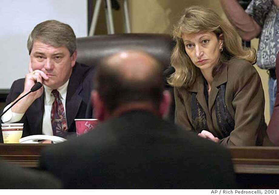 California state Sen. Bill Morrow, R-Oceanside, left, and state Sen. Debra Bowen, D-Marina del Rey, listen to testimony from former San Diego Gas & Electric employee Glenn Johnson, back to camera at center, during a hearing of the state Senate Select Committee to Investigate Price Manipulation, Friday, June 22, 2001, at the Capitol in Sacramento, Calif. Johnson, a former mechanic who worked under contract at Duke Energy's South Bay Power plant, in San Diego, told the committee that he was ordered to shut down machinery for unneeded repairs and to do so when he didn't have the ncessary parts available. (AP Photo/Rich Pedroncelli) ALSO RAN 7/29/02, 2/24/03 Ran on: 03-02-2005  State Sen. Debra Bowen says identity theft is gaining attention in Sacramento. Ran on: 12-04-2005  Top GOP contenders: Bill Morrow (top left), Howard Kaloogian (above) and Brian Bilbray. ALSO Ran on: 12-04-2005  Top GOP contenders: Bill Morrow (top left), Howard Kaloogian (above) and Brian Bilbray.Ran on: 04-23-2006  Debra Bowen, a state senator from Marina del Rey, is seeking the Democratic nomination for secretary of state. CAT Photo: RICH PEDRONCELLI