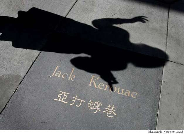 kerouac205.JPG  Inlaid letters like Jack Kerouac's name also include the Chinese spelling as the alley is on the border of Chinatown and North Beach.  The San Francisco alley named after beat author Jack Kerouac has had a face lift with new cobblestones, lights, quotes, etc. {Brant Ward/San Francisco Chronicle}3/29/07 Photo: Brant Ward