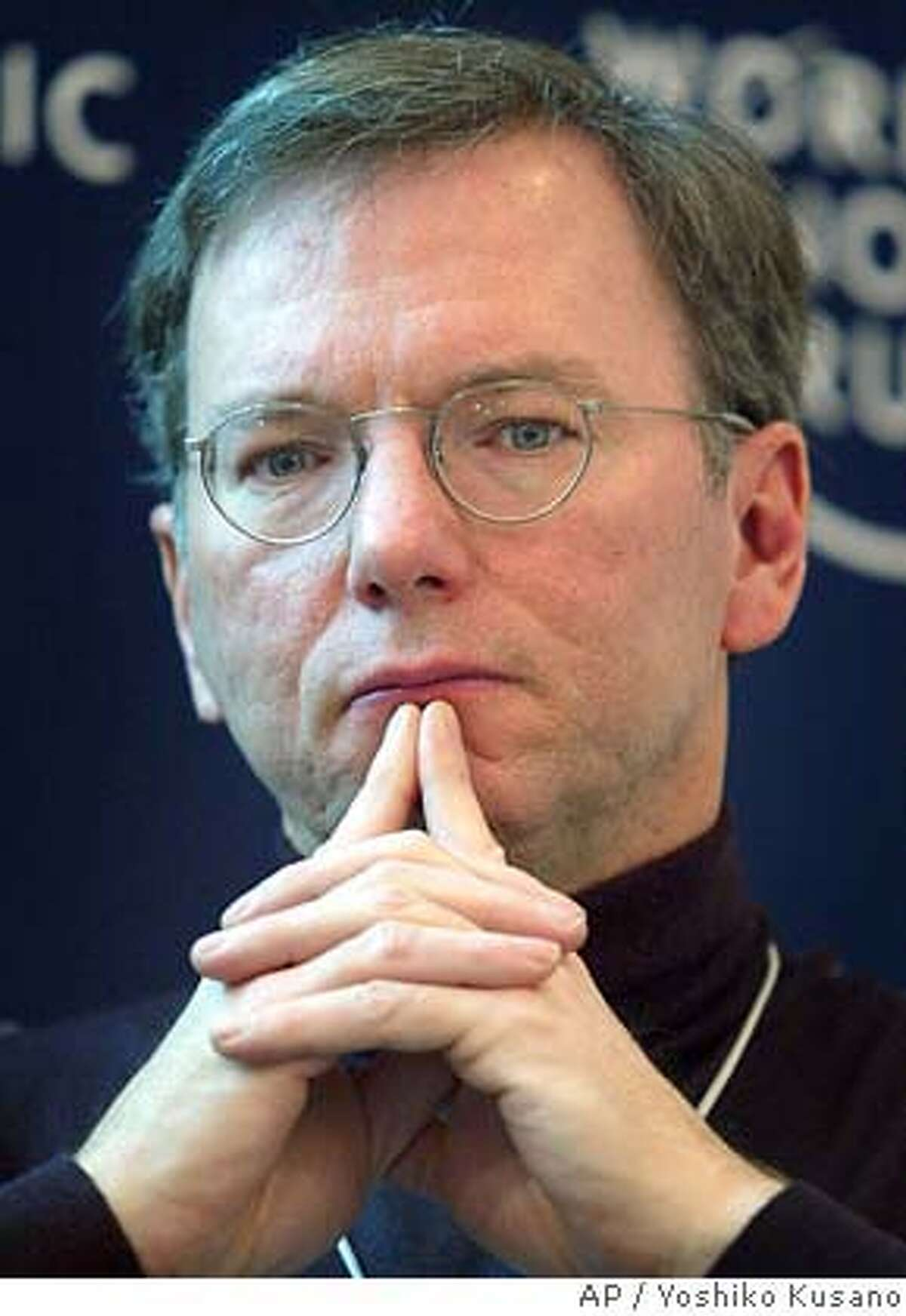 Eric Schmidt, CEO of Google, USA, participates in a panel session at the Annual Meeting of the World Economic Forum in Davos, Switzerland, Friday, Jan. 23, 2004. (AP Photo/ Keystone, Yoshiko Kusano) ALSO Ran on: 12-02-2004 Eric Schmidt, Google's chief executive, is pleased with the IPO's run-up. Ran on: 04-09-2005 ALSO RAN: 05/11/2005 ALSO Ran on: 06-22-2005 Ran on: 08-09-2005 Google has blackballed Cnet for its story using information it googled on CEO Eric Schmidt. Ran on: 08-09-2005 Mike Nolan