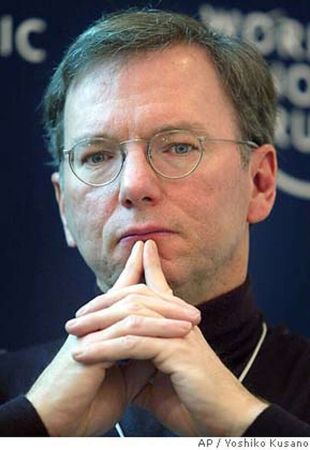Eric Schmidt, CEO of Google, USA, participates in a panel session at the Annual Meeting of the World Economic Forum in Davos, Switzerland, Friday, Jan. 23, 2004. (AP Photo/ Keystone, Yoshiko Kusano) ALSO Ran on: 12-02-2004  Eric Schmidt, Google's chief executive, is pleased with the IPO's run-up. Ran on: 04-09-2005  ALSO RAN: 05/11/2005 ALSO Ran on: 06-22-2005 Ran on: 08-09-2005  Google has blackballed Cnet for its story using information it googled on CEO Eric Schmidt. Ran on: 08-09-2005  Mike Nolan Photo: YOSHIKO KUSANO