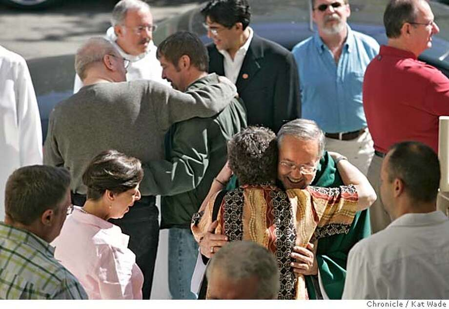 CATHOLIC28_088_KW.jpg  On 9/25/04 in San Francisco Father Steve Meriwether greets parishners after a well attended Sunday Mass at Most Holy Redeemer parish church in the Castro Sunday as the Roman Catholic Church opens the fight against homosexuality among priests and seminary students.  Kat Wade/ The Chronicle MANDATORY CREDIT FOR PHOTOG AND SF CHRONICLE/ -MAGS OUT Photo: Kat Wade