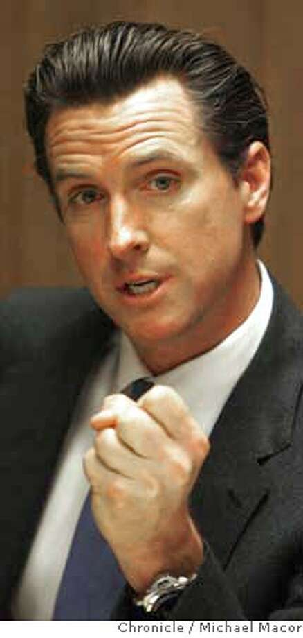 newsom_090_mac.jpg San Francisco Mayor Gavin Newson speaks with the editorial board of The Chronicle. Photographed in, San Francisco, Ca, on 3/27/07. Photo by: Michael Macor/ The Chronicle Mandatory credit for Photographer and San Francisco Chronicle No sales/ Magazines Out Photo: Michael Macor