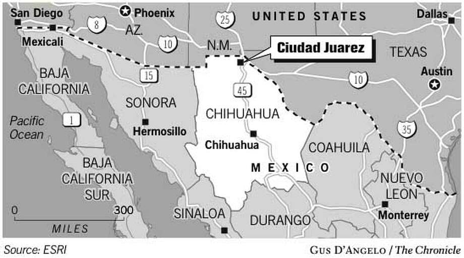 Ciudad Juarez, Mexico. Chronicle graphic by Gus D'Angelo