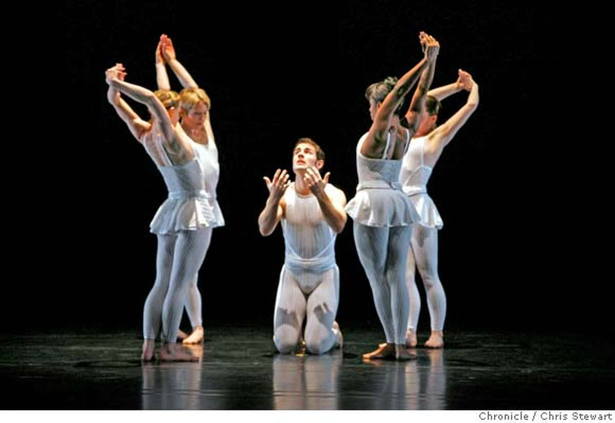 taylor _069_cs.jpg Event on 3/27/07 in San Francisco. Jeffrey Smith (cq - center) is surrounded by fellow dancers during a dress rehearsal by the Paul Taylor Dance Company of Lines of Loss, a centerpiece of Program A at the Yerba Buena Center for the Arts Theater. Photographed March 27, 2007. Chris Stewart / The Chronicle Jeffrey Smith, Paul Taylor Dance Company, Lines of Loss