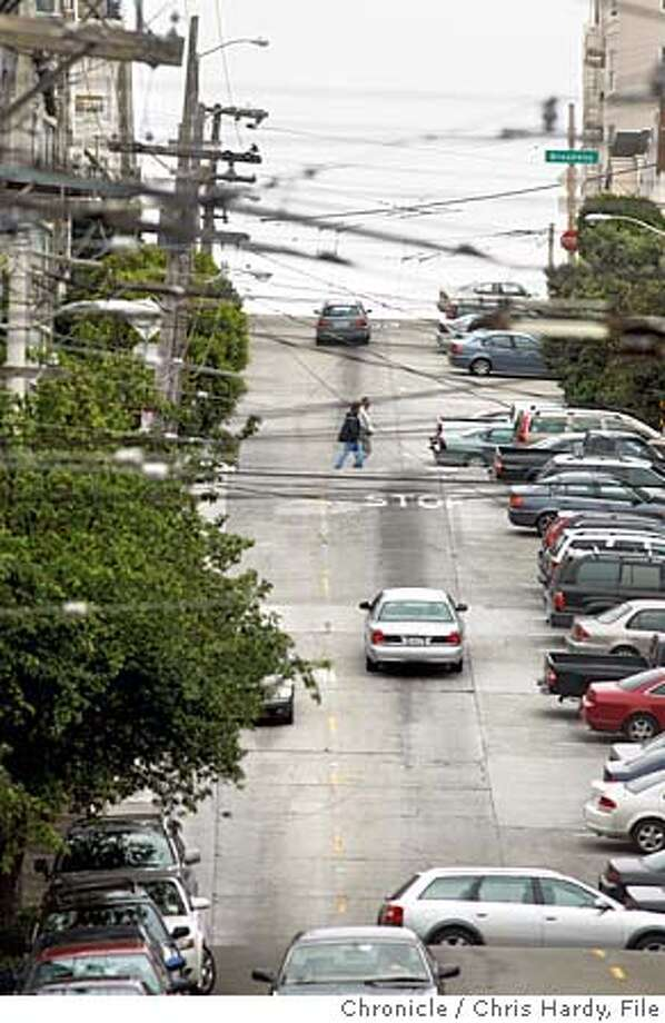 Fillmore st. looking south from about Union where, as part of a snowboard promotion, johnny mosely will be doing a jump down fillmore from broadway to green st. residents of the area as well as a couple scheduled to get married at the flood mansion are protesting the event because it would cause a huge disruption. in San Francisco  8/17/05 Chris Hardy / San Francisco Chronicle Photo: Chris Hardy