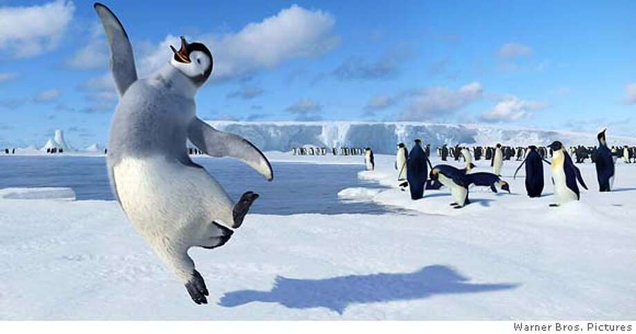 "� This image provided by Warner Bros. Pictures shows a scene from the animated movie ""Happy Feet."" In the footsteps of ""March on the Penguins"" and ""Happy Feet,"" the wave continues with the recently released ""Farce of the Penguins"" mockumentary, the DVD release of 1995's animated ""The Pebble and the Penguin"" and the upcoming summer cartoon ""Surf's Up,"" about surfing penguins. (AP Photo/ Warner Bros. Pictures) HANDOUT RELEASED BY WARNER BROS. NO SALES. NO MAGS."