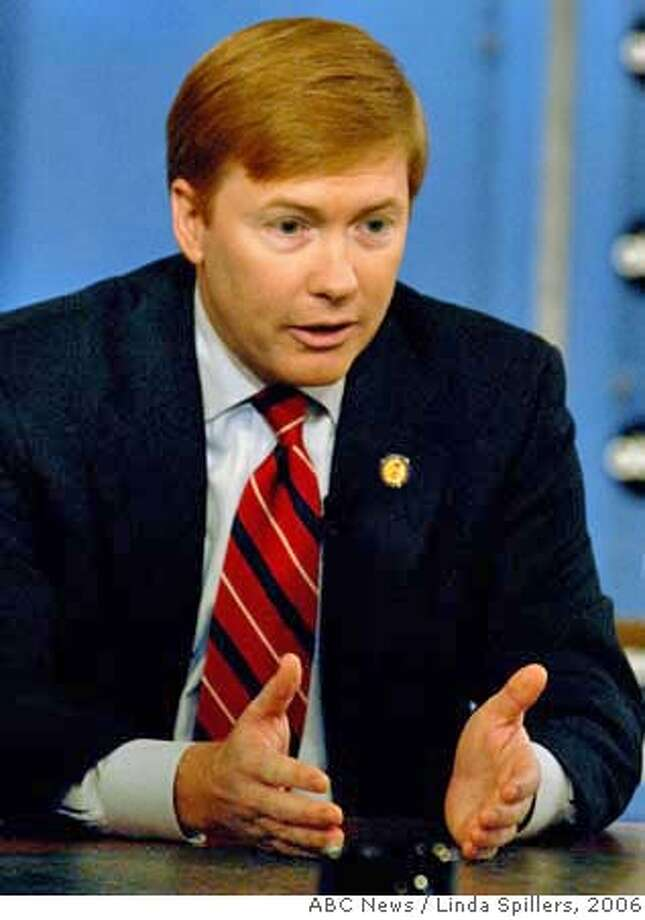 In this photo provided by ABC News, Rep.Adam Putnam, R-Fla., appears for an interview with George Stephanopolous on ABC's This Week, in Washington, Sunday, Oct. 8, 2006. (AP Photo/ABC News, Linda Spillers) **MANDATORY CREDIT LINDA SPILLERS ABC NEWS NO SALES NO ARCHIVE**  Ran on: 02-08-2007  Plans by Nancy Pelosi, left, to use a government plane caused Rep. Adam Putnam of Florida, right, to say she wants a bigger jet than her predecessor used.  Ran on: 02-08-2007  Plans by Nancy Pelosi, left, to use a government plane caused Rep. Adam Putnam of Florida, right, to say she wants a bigger jet than her predecessor used. PHOTO PROVIDED BY ABC NEWS. MANDATORY CREDIT LINDA SPILLERS ABC NEWS NO SALES NO ARCHIVE Photo: LINDA SPILLERS