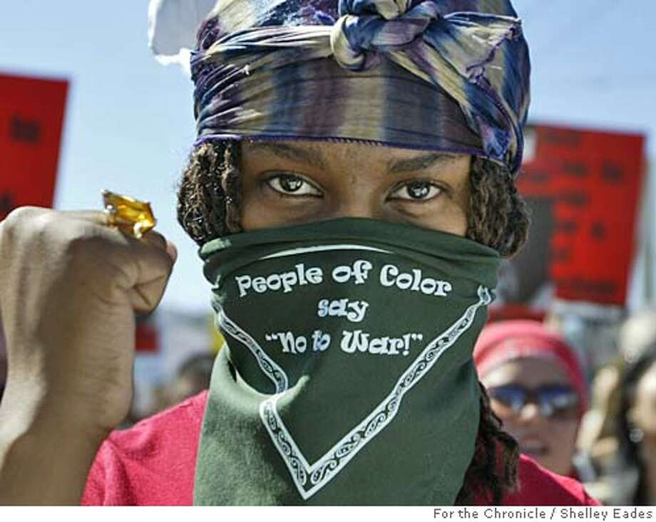 On 9/24/05 in San Francisco. Jasmine Williams, 17, a student with Youth Together marched with thousands during an anti-war protest from Dolores Park to Jefferson Square Park San Francisco on Saturday. Chronicle Photo by Shelley Eades Photo: Shelley Eades