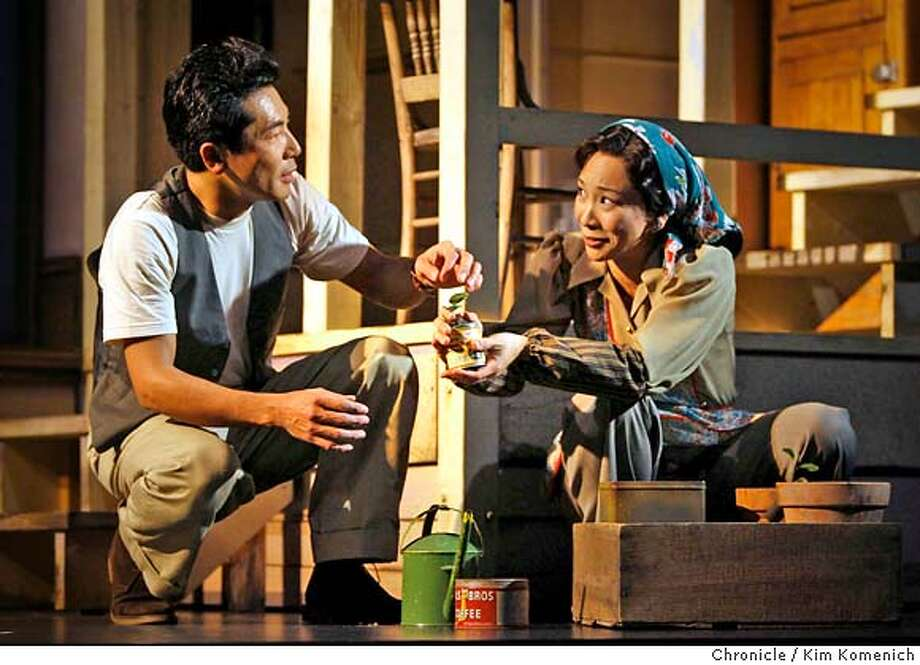 "WAR30_102_KK.JPG  Hiro Kanagawa as Chester Monkawa and Sala Iwamatsu as Lillian Okamura in ACT's production of ""After the War,"" a major world premiere by Philip Kan Gotanda about SF's Japantown when the internees started returning from the camps after WWII. Photo by Kim Komenich/The Chronicle  **Hiro Kanagawa, Sala Iwamatsu �2007, San Francisco Chronicle/ Kim Komenich  MANDATORY CREDIT FOR PHOTOG AND SAN FRANCISCO CHRONICLE. NO SALES- MAGS OUT. Photo: Kim Komenich"