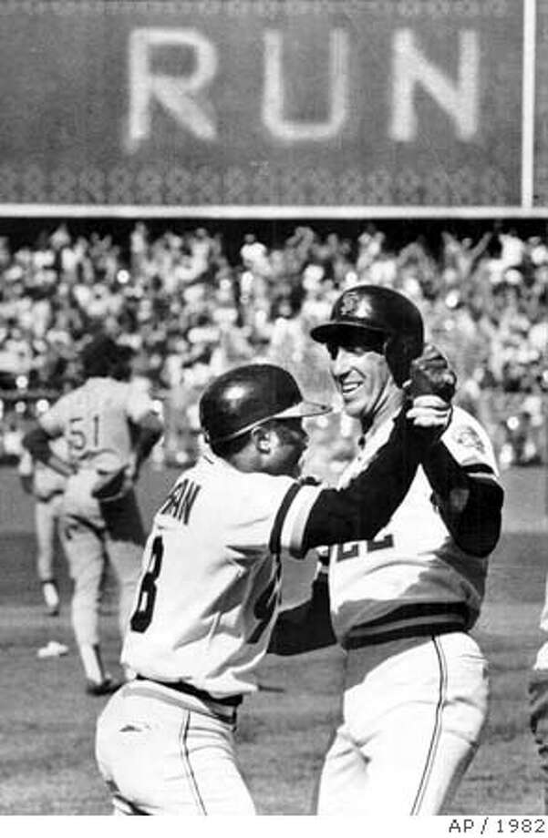 GIANTS-MORGAN/B/02SEP99/SP/AP--SF GIANTS JACK CLARK, RIGHT, CONGRATULATES JOE MORGAN AFTER HE HIT A THREE RUN HOMER OVER THE RIGHT FIELD FENCE SCORING AGAINST THE LA DODGERS IN THE SEVENTH INNING AT CANDLESTICK IN 1982. THE GIANTS WENT ON TO WIN 5-3. SPECIAL PREVIEW SECTION: BASEBALL `00 ALSO RAN: 04/15/2001 CAT Photo: AP