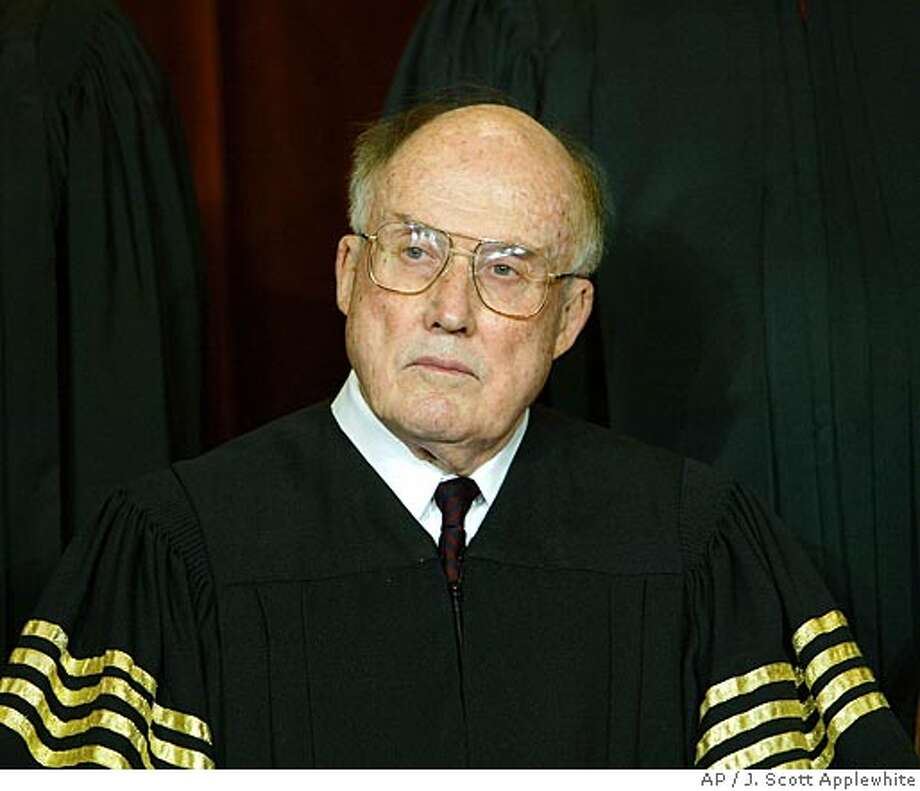 ** FILE ** Chief Justice of the United States William H. Rehnquist sits for a formal group photo session with the members of the U.S. Supreme Court, at the Supreme Court Building in Washington, in this file photo dated Dec. 5, 2003. At age 80, Rehnquist's health remains shrouded in mystery with the extent of his thyroid cancer a closely guarded secret since his illness was made public Oct. 25, 2004. (AP Photo/J. Scott Applewhite/File) Ran on: 12-07-2004  Chief Justice William Rehnquist and his colleagues will hear two cases on wine shipping. Ran on: 12-07-2004  Chief Justice William Rehnquist and his colleagues will hear two cases on wine shipping. Ran on: 07-02-2005 Ran on: 07-02-2005 Ran on: 09-04-2005 Ran on: 09-05-2005  William Rehnquist served for more than 33 years on the Supreme Court, 19 as chief justice. Ran on: 09-05-2005  William Rehnquist served for more than 33 years on the Supreme Court, 19 as chief justice. Ran on: 09-05-2005  William Rehnquist served for more than 33 years on the Supreme Court, 19 as chief justice. FILE PHOTO DEC 5, 2003 Photo: J. SCOTT APPLEWHITE