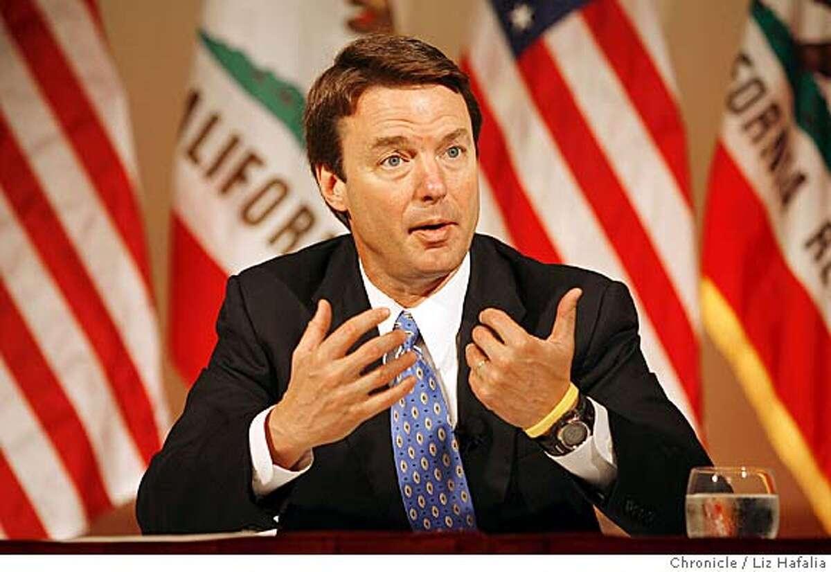 Senator John Edwards at a press conference at Palace Hotel to discuss global warming and energy policies. Liz Hafalia/The Chronicle/San Francisco/3/27/07 ** John Edwards cq