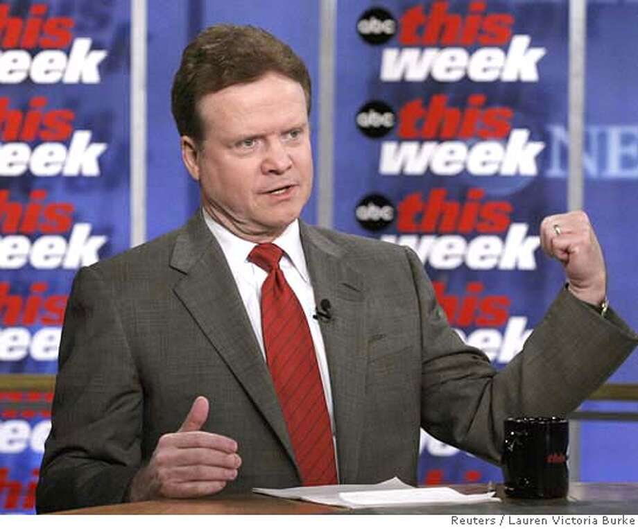 U.S. Senator Jim Webb, (D-VA) is interviewed on This Week with George Stephanopoulos in Washington, March 11, 2007. FOR EDITORIAL USE ONLY NO SALES NO ARCHIVE REUTERS/Lauren Victoria Burke/ABC News/Handout (UNITED STATES) Photo: HO