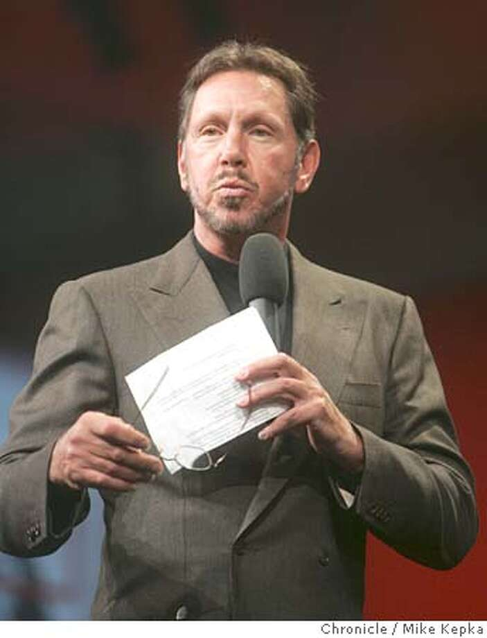 oracle22107_mk.JPG Oracle CEO, Larry Ellison gives his keynote speech to a full house at this year's Oracle OpenWorld convention at Moscone Center in San Francisco. 9/21/05 Mike Kepka / The Chronicle MANDATORY CREDIT FOR PHOTOG AND SF CHRONICLE/ -MAGS OUT Photo: Mike Kepka
