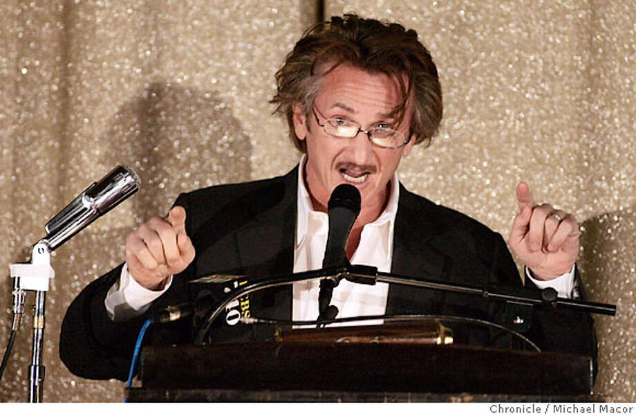 Actor, Sean Penn addresses the audience and speaks out against the war in iraq. Rep. Barbara Lee, D. Oakland, and actor Sean Penn lead a town hall meeting in Oakland to discuss how the United States can withdraw from Iraq immediately. Meeting hosted by the Grand Lake Theater, a bastion of progressive politics even for Oakland. Photographed in, Oakland, Ca, on 3/24/07. Photo by: Michael Macor/ The Chronicle Photo: Michael Macor